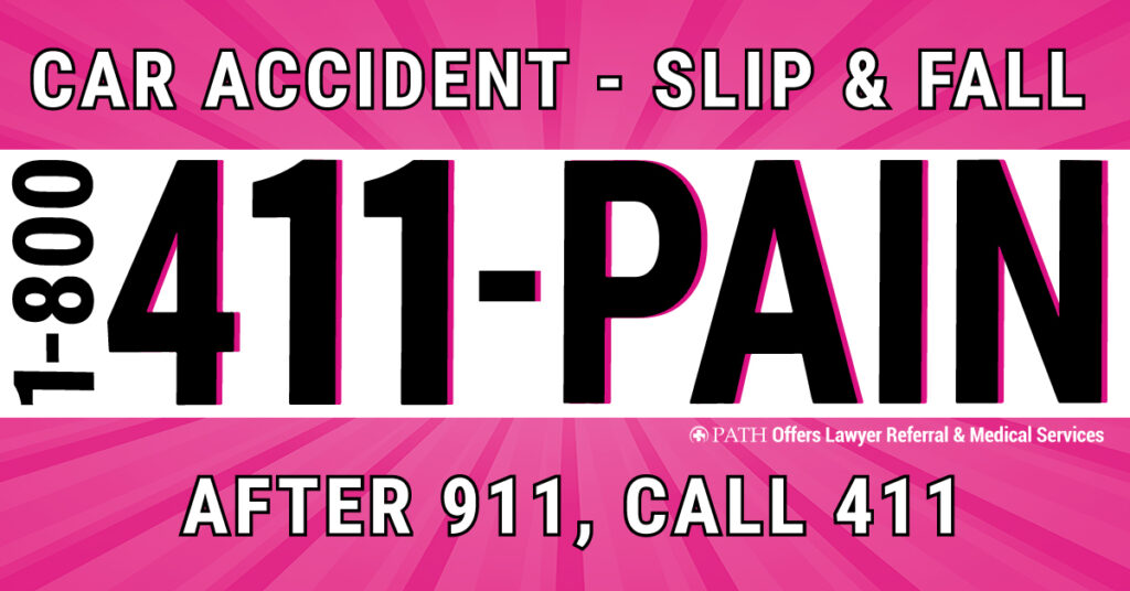 car accident call 1800 411 pain